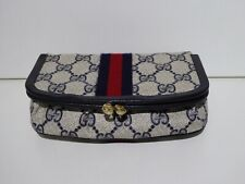 VINTAGE BLUE GUCCI GUCCISSIMA MAKE UP POUCH / CLUTCH WITH MIRROR
