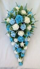 BRIDES TEARDROP BOUQUET, IVORY, TURQUOISE, BABY BLUE, ARTIFICIAL WEDDING FLOWERS