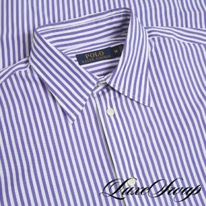 Polo Ralph Lauren White Royal Purple Bengal Stripe Button Down Dress Shirt M NR
