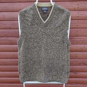 Woolrich Mens Sleeveless V-Neck Jumper Sweater Size L Oatmeal Brown Fleck VTG