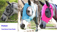 Soft Horse Fly Mask Face Mesh Cotton with Eyes Ears Protection From Insect Bites