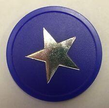 More details for blue plastic token silver stars - bag of 100 - home school, reward, voting