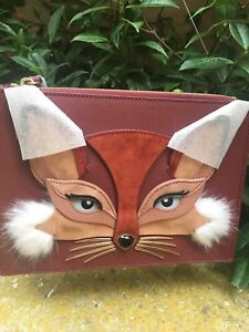 "STUNNING! KATE SPADE NEW YORK ""SO FOXY FOX"" LEATHER CLARISE CLUTCH SHOULDER, NWT"