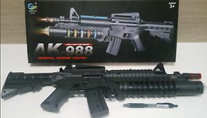 TOY M-16 Assault Rifle with Colored Flashing Lights Sound Vibration BIG AK988 US