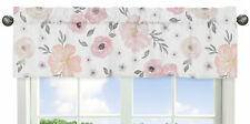 Window Valance Curtain For Sweet Jojo Pink Grey Watercolor Floral Girls Bedding