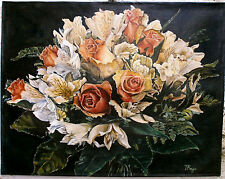Bouquet - quadro Olio su Tela cm 39x50 - fiori rose rosa gigli  dipinto a mano