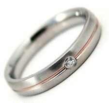 Wedding Band Rose Gold PVD Stripe Clear Stone Hypoallergenic 4mm 2 Tone Size 7
