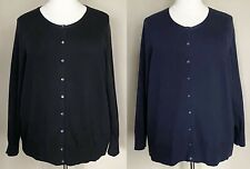 Lands End 100% Cotton Button Front Cardigan Sweater Navy Blue or Black Plus 3X