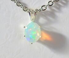 NATURAL Ethiopian Welo OPAL Faceted Oval Solitare Silver Pendant Necklace