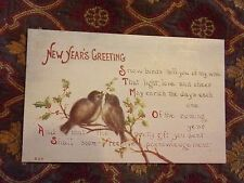 Vintage Postcard New Year;s Greeting Poem, Birds Sitting On A Branch