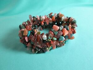 Mixed Gemstone Chip & Pearl Nugget Beaded Stretch Bracelet 32mm Wide