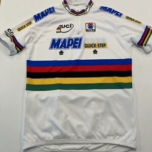 Mapei Quickstep Sportful Cycling Jersey Worlds Rainbow Stripes Men's Large