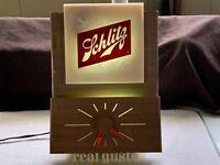 Vintage Retro Schlitz Beer Lighted Clock Bar Sign