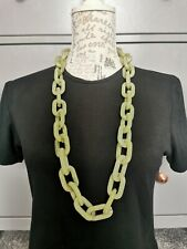 Long Chunky Green Marbled Plastic Link Chain Necklace Unusual Boho Quirky