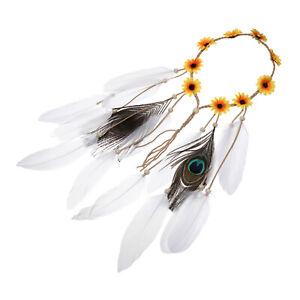 Boho Women's Feather Flower Headband Hairband Hair Rope Costume Tassel Headpiece