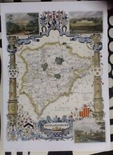 Decorative County Map Print Of Rutlandshire By Thomas Moule 1830, Burghley House