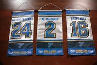 St. Louis Blues Retired Jersey Banners Brett Hull Al MacInnis Bernie Federko SGA