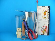 Vintage 1960's Drink Mixing Guide &10 Pc. Drink Mixing Set-Up Shaker/Strain.Etc