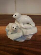 Vintage Otagiri Glazed Porcelain Baby Seals On Iceberg