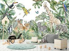 Jungle Wall Mural Photo Wallpaper Children Kids Room Nursery Watercolor Animals