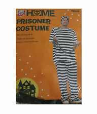 Prisoner Excaped Convict Black & White Stripped Adult Mens Halloween Costume