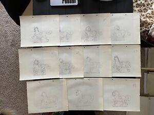 LOT OF 4 Ub Iwerks 1938 Cartoon Animation Drawing Walt Disney Mickey Cel Art