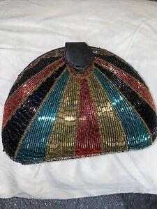 Vintage Bob Mackie Beaded Dome Clutch Art Deco Retro