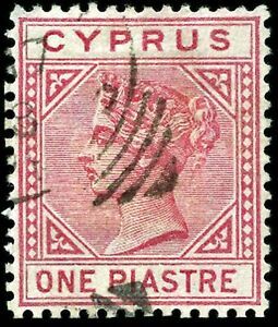 CYPRUS VICTORIA 1883 1pi ROSE SG18a DIE I TOP LEFT TRIANGLE DETACHED SUPER USED