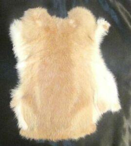 Rabbit pelt natural,white,imprinted,tan. soft genuine pelt/ hide Fast shipping!!