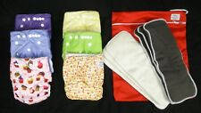 6 NEW Adjustable Cloth Pocket Diapers Bamboo & Hemp Inserts + Waterproof Wetbag
