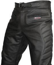 Pantaloni neri in pelle per motociclista taglia 46