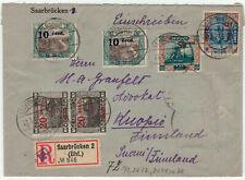 Saargebiet Mi  78A MiF Brief mit Einschreiben nach Finnland - Briefmarken entfer