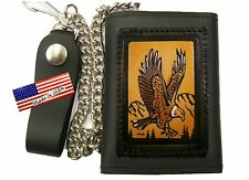 Chain Wallet Eagle Brown Trifold Black Leather Made in USA