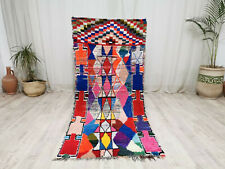 Moroccan Vintage Handmade Wool Cotton Rug 2'9x6'6 Berber Tribal Colorful Carpet