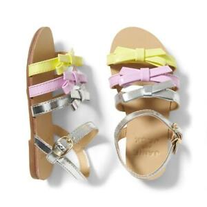 Janie And Jack Girl's Silver Multi Bow Strappy Sandal Shoe NWT Various Sizes