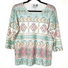 Anthropologie Akemi Kin Womens Top Size Small S Aztec Pull Over Light Weight