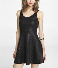 NWT- Express Black Quilted Skater Fit & Flare Tank Dress w/ Back Zip - Small