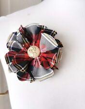Tartan Scottish Brooch Dress Stewart fabric flower wedding accessory