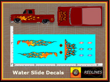 """1/64 '62 Chevy Truck  """"Flames I""""  Decal SCR-0220"""