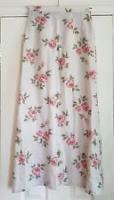 "Laura Ashley maxi a line skirt beige  pink roses 26"" waist"