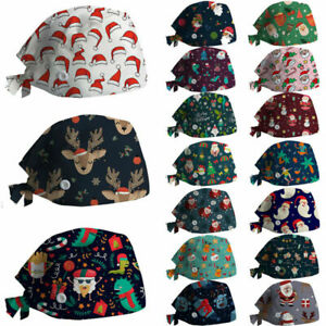 Christmas Surgical Scrub Cap Doctor Hat Nurse Bouffant Hat Adjustable Head Cover