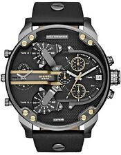 DIESEL DADDY 2.0 BLACK GUNMETAL GOLD CHRONOGRAPH ANALOG BIG WATCH LEATHER NEW