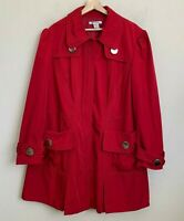 Nygard Plus Womens Coat Red Zip Stitch Design Silver Buttons Pockets Lined Sz 22
