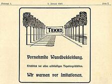 Tapeten - Tekko - Vornehme Wandbekleidung * Historische Reklame von 1903