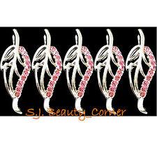 Jewellery - Leaf - 5 x Pendant / Charm -Pink Rhinestone-Silver Tone-New -25x10mm
