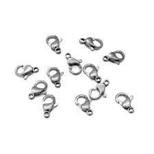 25 x Stainless Steel 10mm Lobster Clasps - Dark Silver Tone