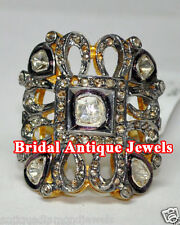 1.41cts ROSE/ANTIQUE CUT DIAMOND VICTORIAN LOOK WEDDING/ANNIVERSARY SILVER RING
