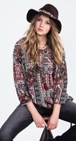 NWT Miss Me Take A Chance Peasant Top/ Shirt MDT1548L- Women's Medium
