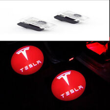 2 Red Car Door Courtesy LED Projector Shadow Ghost Lamp For Tesla MODEL S X 3