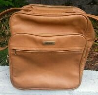 Samsonite Vintage Tan Vegan Leather Carry-on Shoulder Travel Bag Luggage